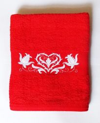 Towels - hungarian heart folk embroidery - red - white design