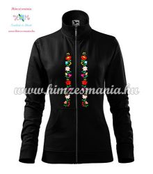 Women's zipped jacket - folk embroidered - Kalocsa style - black