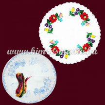 Pre-stamped tablecloth - hungarian embroidery - Kalocsa pattern - round - 34 cm