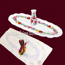 Pre-printed tablecloth set - hungarian hand embroidery - Kalocsa pattern - oval - 30x70 cm