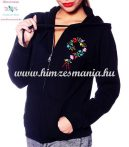Women sweatshirt - hungarian folk embroidery - kalocsa heart - black