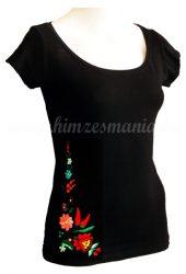 Hímzésmánia - kalocsai hímzett póló - fekete (S, M, L, XL)