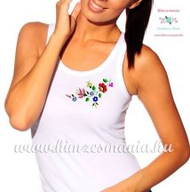 Tank top - hungarian folk embroidery - Kalocsa motif - white