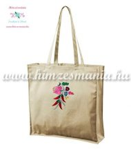 Shopping bag - cotton canvas - machine embroidery - Kalocsa motif - natural