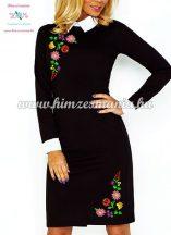 Fehér galléros elegáns női ruha - fekete - színes kalocsai minta - gépi hímzés