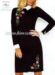 Long sleeve women's dress - hungarian folk embroidery - color Kalocsa pattern