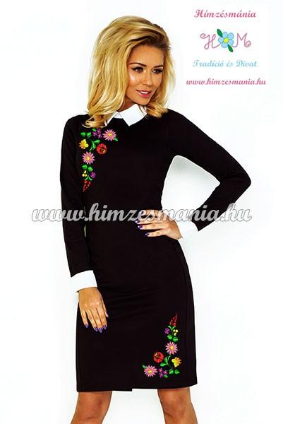 Fehér galléros elegáns női ruha - fekete - színes kalocsai minta - gépi  hímzés 038c354801