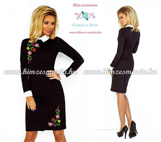0060cf2f2 Fehér galléros elegáns női ruha - fekete - színes kalocsai minta - gépi  hímzés