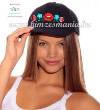 Baseball cap - hungarian folk - machine embroidery - kalocsai motif - unisex - blue
