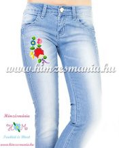 Women's jeans - hungarian folk  machine embroidery - Kalocsa style