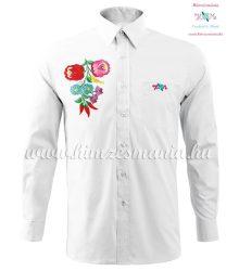Hosszú ujjú férfi ing kézi hímzésű kalocsai mintával - fehér