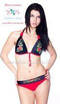 Bikini push up - hungarian folk design - Kalocsa style - red/black
