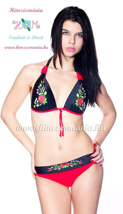 f6cb554ba Kalocsai mintás bikini - push up - fekete/piros