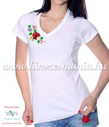 V-neck, short-sleeved T-shirt women - machine embroidery - Kalocsa folk motif - white