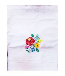 Towels - hungarian folk embroidery - kalocsa style - white