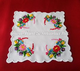 Small tablecloth - hungarian folk - hand embroidery - Kalocsa style - 20x20 cm