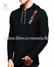 Kalocsai mintás hosszú ujjú kapucnis férfi póló - fekete
