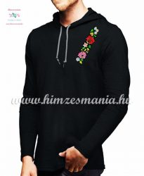Long Sleeve Hooded Tee - embroidery - hungarian folk style - black