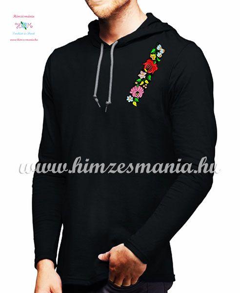 8fefcf7df2 Kalocsai mintás hosszú ujjú kapucnis férfi póló - fekete ...