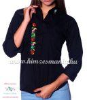 Kézi hímzésű 3/4-es ujjú női ing kalocsai motívummal - fekete
