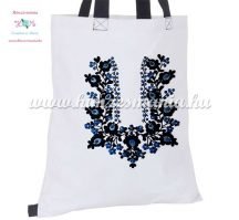 Cotton shopping bag - hungarian folk embroidery - handmaded - Matyo style - white