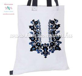 Matyó mintás divatos bevásárló táska - kézi hímzés - fehér