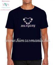 HUNGARY feliratos hímzett férfi póló matyó szív mintával - kék