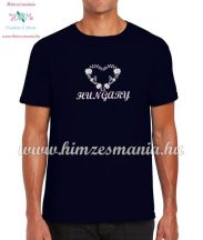 Men's T-Shirts - HUNGARY  inscription - machine embroidered - Matyo heart - navy