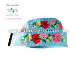 Belt - hungarian folk - machine embroidery - Kalocsa pattern - sky blue