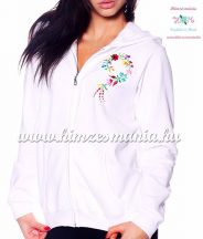 Women sweatshirt - hungarian folk embroidery - kalocsa heart - white