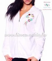 Women sweatshirt - hungarian folk embroidery - kalocsa heart - white