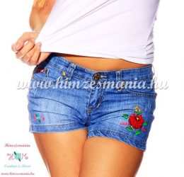 Denim short - hungarian folk hand embroidery - Kalocsa rose