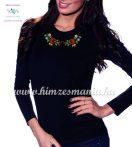 T-shirt woman - long sleeve - folk embroidery - hungarian motif - black