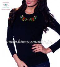 Kalocsai mintás hímzett hosszú ujjú női póló - Hímzésmánia - fekete