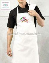 Bib apron - hungarian folk - machine embroidery- Kalocsa motif - unisex - white