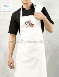 Vállpántos szakács kötény - kalocsai paprika mintás - gépi hímzés - unisex - fehér