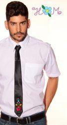 Hímzésmánia - matyó mintás hímzett nyakkendő - fekete