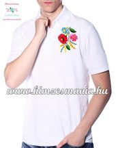 Men's Pique Polo Shirts - hungarian embroidery - Kalocsa motif - white