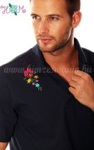 Men's polo shirt - folk machine embroidery - Matyo motif - navy - Embroidery Mania