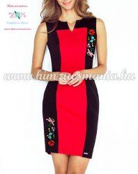 Elegáns kalocsai mintás ruha - gépi hímzés - piros