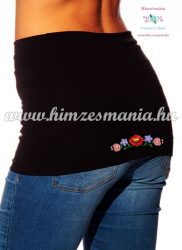 Waist Warmer - hungarian folk embroidery - Kalocsa style - black