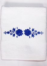 Towels - hungarian folk embroidery - Matyo style - white - blue design