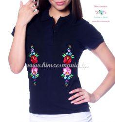 Women polo shirt - hungarian folk  machine embriodery - Kalocsai design - navy