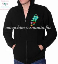 Men' sweatshirt - hand embroidery - hungarian folk motif - black