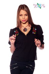 Blouse - hungarian handmade - embroidery Kalocsa style - black