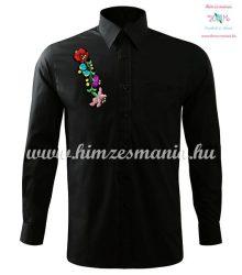 Kalocsai férfi ing - hosszú ujjú - gépi hímzés - fekete