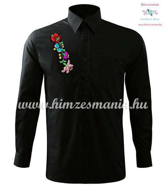 2b7751f9a3 Kalocsai férfi ing - hosszú ujjú - gépi hímzés - fekete ...