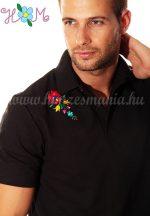 Hímzésmánia - matyó mintás elején-hátulján hímzett galléros férfi póló - fekete