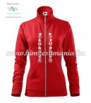 Women's zipped jacket - folk embroidered - Kalocsa style - red