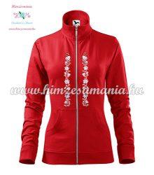 Women's zipped jacket - folk embroidered - Kalocsa style - red